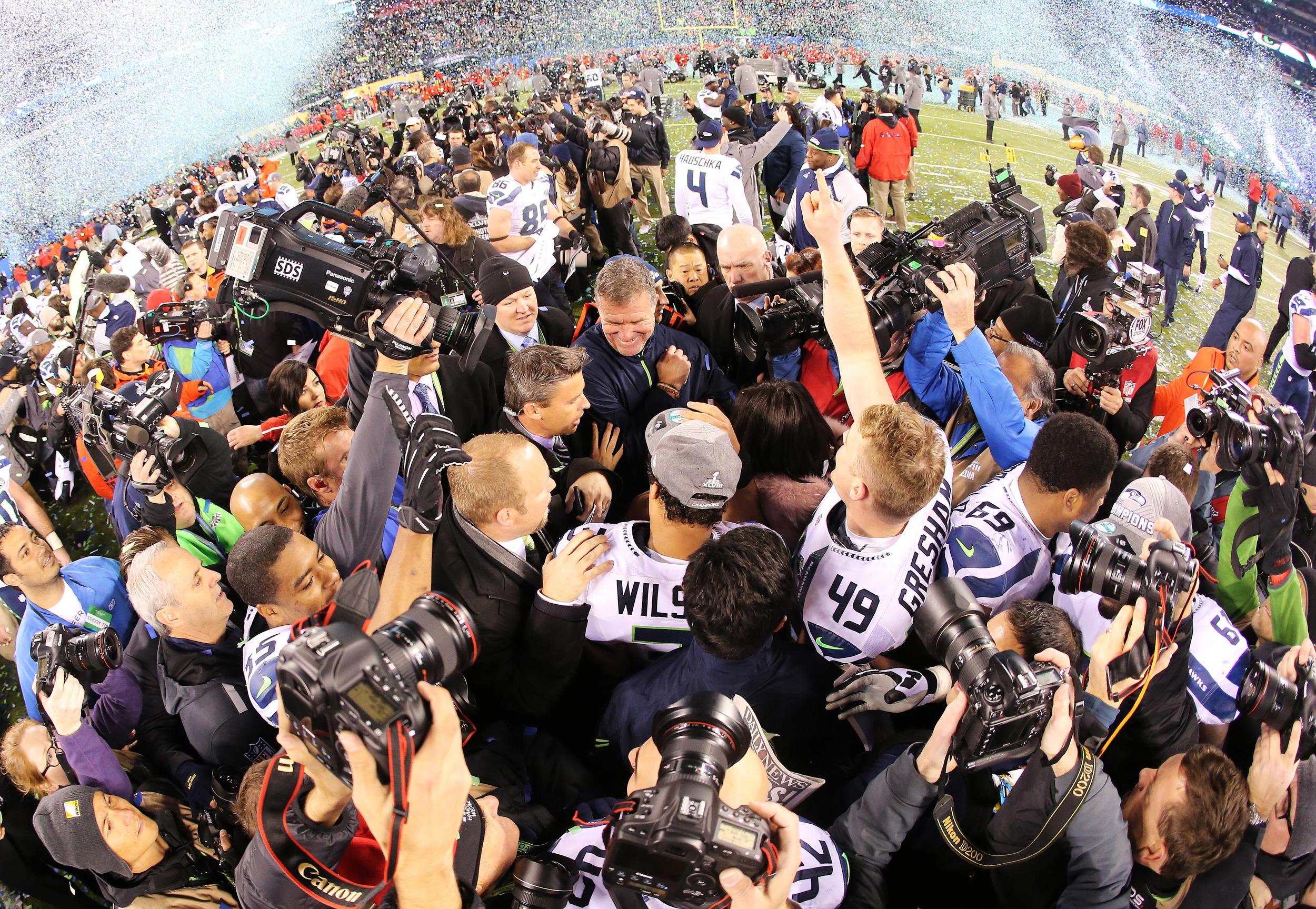 The Seahawks Celebrating at Super Bowl XLVIII